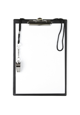 whistle: Blank sports clipboard on white background