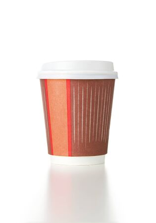 Blank recyclable coffee cup isolated on white background photo