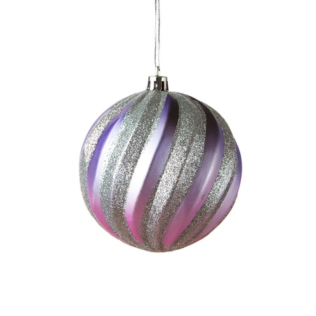 balls deep: Elegant christmas bauble isolated on white Stock Photo