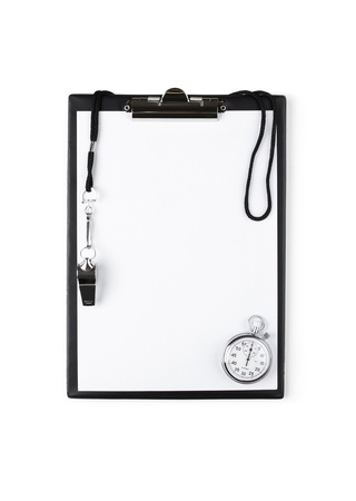 sports coach: Blank clipboard with whistle and stopwatch
