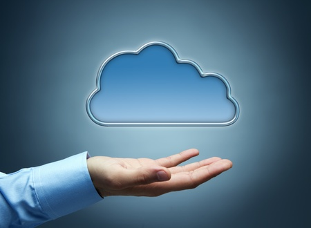 solution concept: Cloud computing concept with copy space