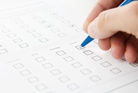 cheque en blanco: Llenar el cuestionario