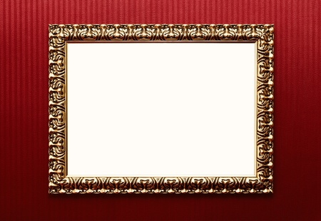 Blank vintage gold frame over striped wallpaper with clipping pa photo