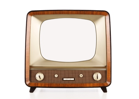 retro tv: Old retro TV isolated on white. Stock Photo