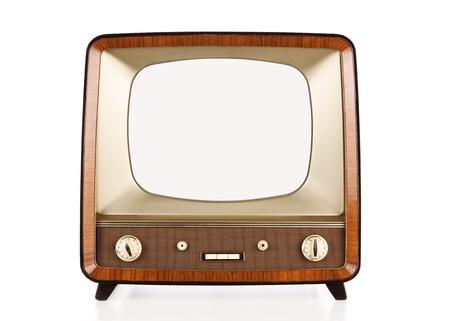 TV retro viejo aislado en blanco.