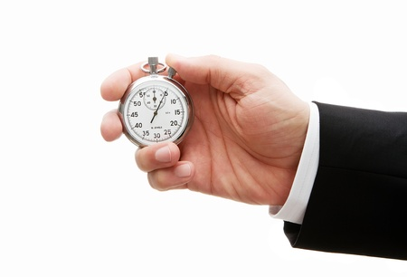 Male hand holding stopwatch isolated on white background photo