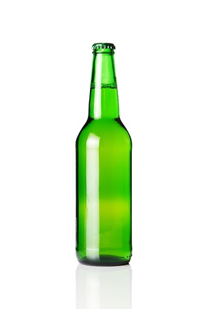 Green beer bottle isolated on white background photo