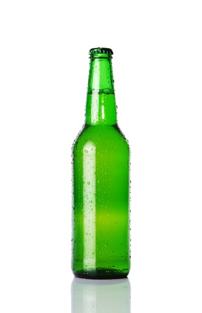Wet beer bottle isolated on white background Stock Photo - 12000652