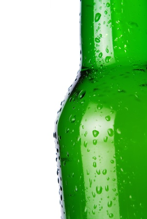 Close up of cold beer bottle with copy space photo