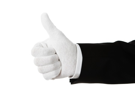 suit  cuff: Elegant dressed hand showing thumbs up isolated on white Stock Photo