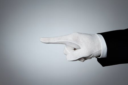 Well dressed human hand pointing at Your text or product photo