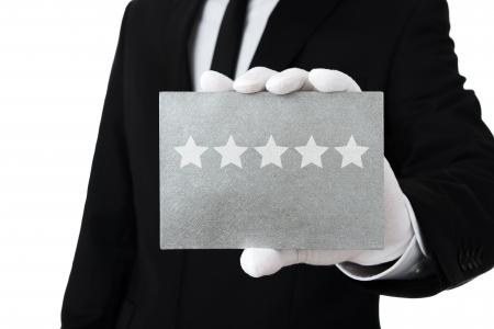 service card: Five star service Stock Photo