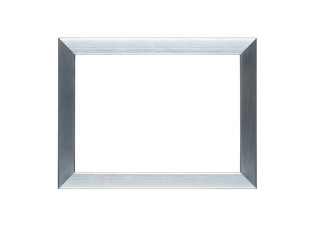Empty metallic silver frame isolated on white with  for the inside photo