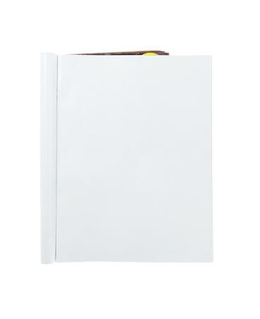 leggere rivista: Blank Magazine piegato isolato su sfondo bianco