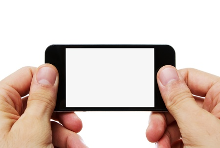 taking video: Human hands holding mobile phone with clipping path for the screen