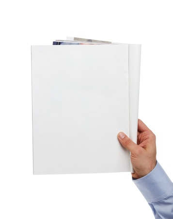 journals: Human hand holding blank magazine with copy space Stock Photo
