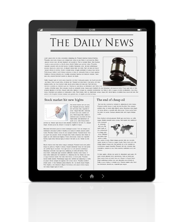 Business news at digital PC tablet isolated on white Stock Photo - 12156491