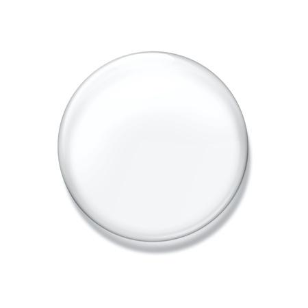 Blank glass badge isolated on white background photo