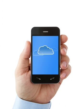 Cloud computing on mobile phone with clipping path for the screen photo