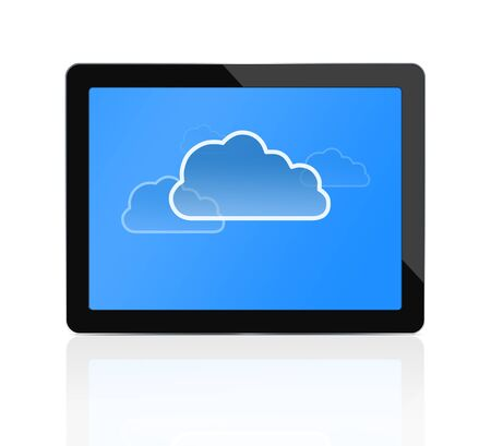 Cloud computing symbol at digital tablet photo