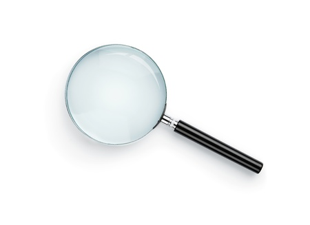 Magnifying glass isolated on white background with for the glass