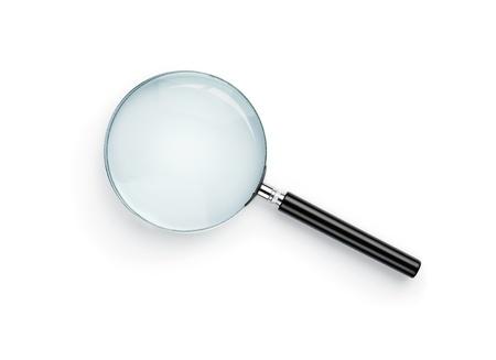 Vergrootglas op witte achtergrond met voor de glazen