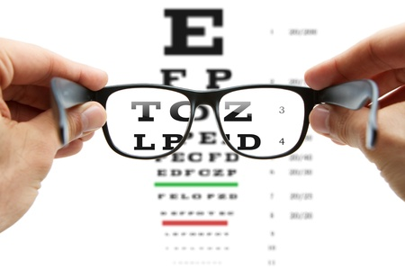 Looking through the glasses at eye chart photo
