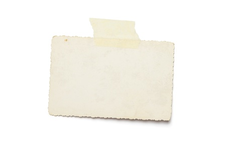 masking tape: Blank vintage photograph isolated on white background