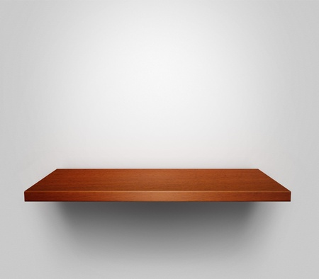 Empty wooden shelf with copy space hanging at the wall photo
