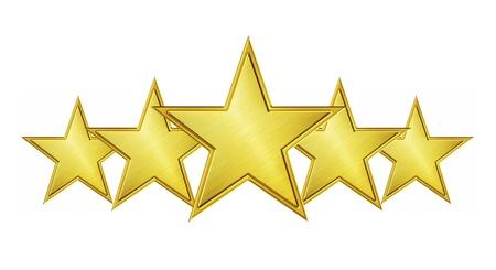Vijf gouden sterren die op witte achtergrond worden geïsoleerd Stockfoto - 12538335