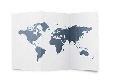 Illustration of a world map at paper sheet illustration