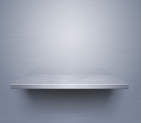 Empty brushed metal shelf at the wall photo