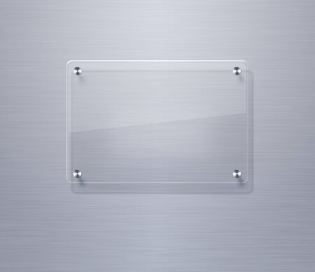Blank glass plate over stainless steel background photo