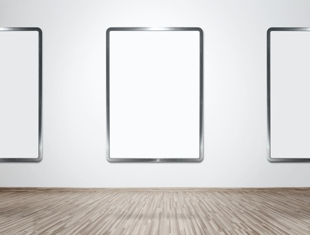 Modern gallery interior with for all empty frames photo