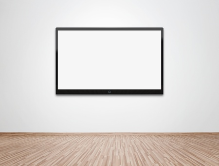 empty room: Empty room with flat screen TV at the wall Stock Photo