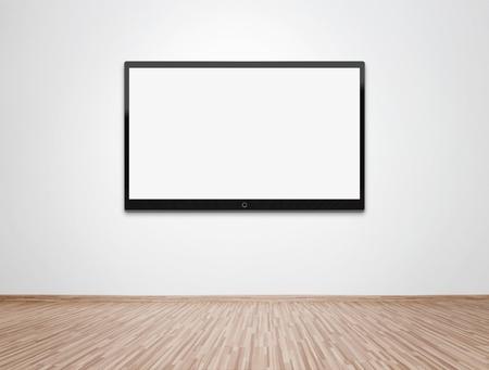 tv: Empty room with TV à écran plat au mur Banque d'images