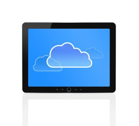 Cloud symbol at digital tablet Stock Photo - 12538387