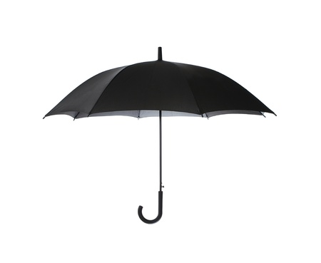 Black umbrella isolated on white background photo