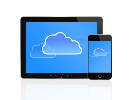 mobile solutions: Cloud symbol at digital tablet and smart phone