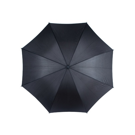 top angle view: Top view of black umbrella isolated on white background