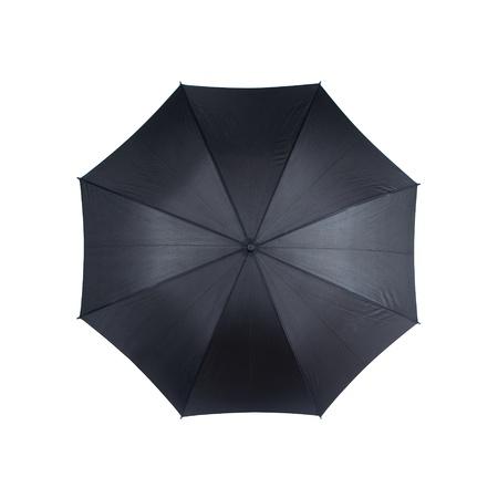 lluvia paraguas: Vista superior del paraguas negro sobre fondo blanco Foto de archivo