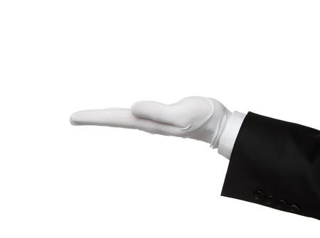 kesztyű: Elegáns emberi kéz bemutató szöveg vagy termék