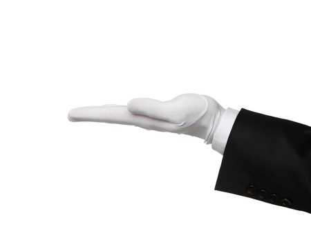 hotel staff: Elegant human hand presenting Your text or product