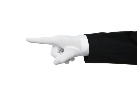 black gloves: Elegant human hand pointing Your text or product