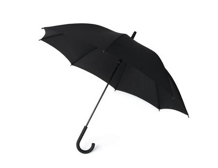 lluvia paraguas: Paraguas negro sobre fondo blanco