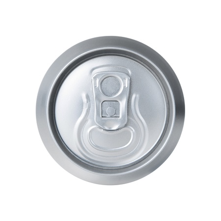High angle view of aluminum soda can isolated on white photo