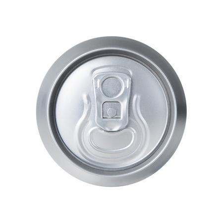 lata de refresco: Vista de ángulo alto de bicarbonato de aluminio aislados en blanco Foto de archivo