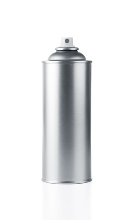 Blank aluminum spray paint can over white background photo