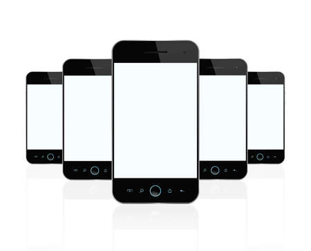 Blank smart phones isolated on white background  Stock Photo - 12538470