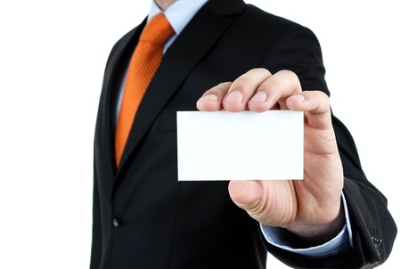 personalausweis: Gesch�ftsmann zeigt leere Visitenkarte mit Kopie Raum